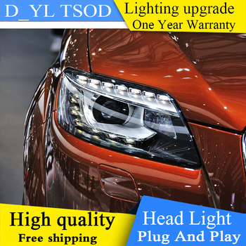2PCS Car Style LED headlights for Audi Q7 206-2015 for Q7 head lamp LED DRL Lens Double Beam H7 HID Xenon bi-xenon lens