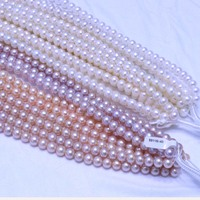 AAAAA 10mm real pearl strands near round natural coloours white pink purple