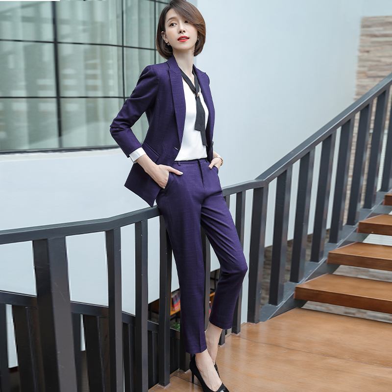 Professional Trousers Suit High Quality Check Suit Two-piece Business Office Suite Elegant Women's Suit Winter Women's Clothing