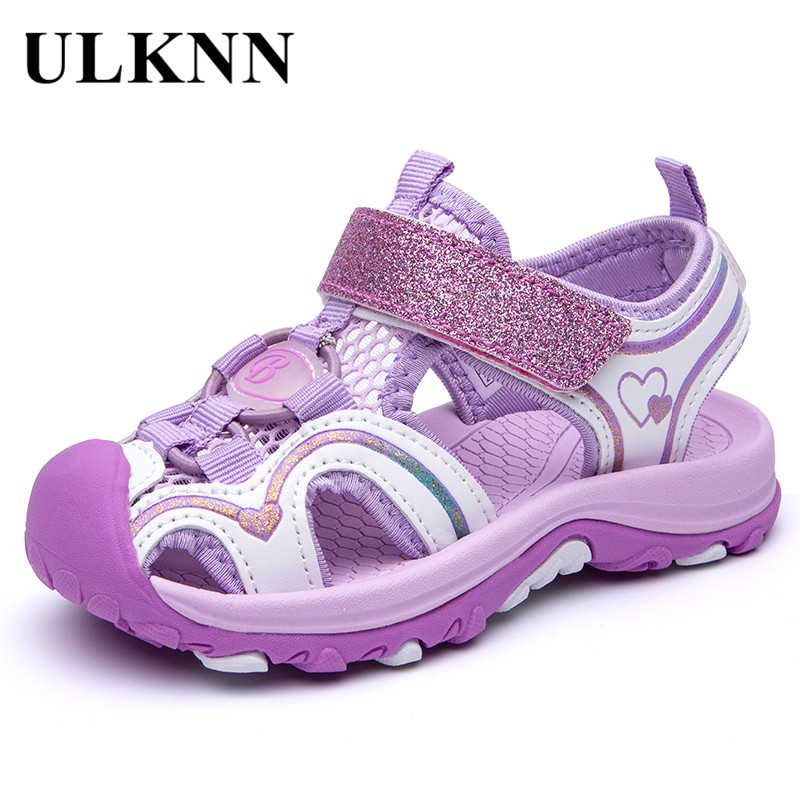 ULKNN Girl'S Sandals 2020 Fashion Summer Shoe Big KIDS Closed-toe Sports Beach Shoes Baby PURPLE PINK BAOTOU SANDALS
