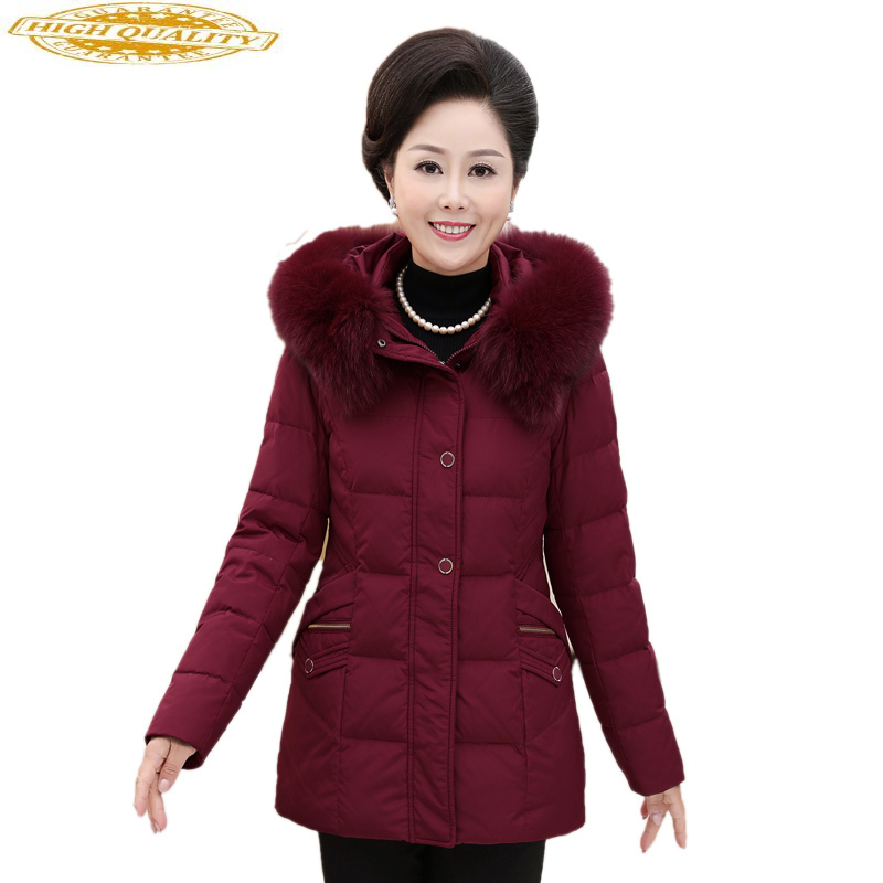 Women's Down Jacket Winter Coat Women Middle-aged Elderly Plus Size 6xl Down Jackets Parka With Hat Chaqueta Mujer KJ700