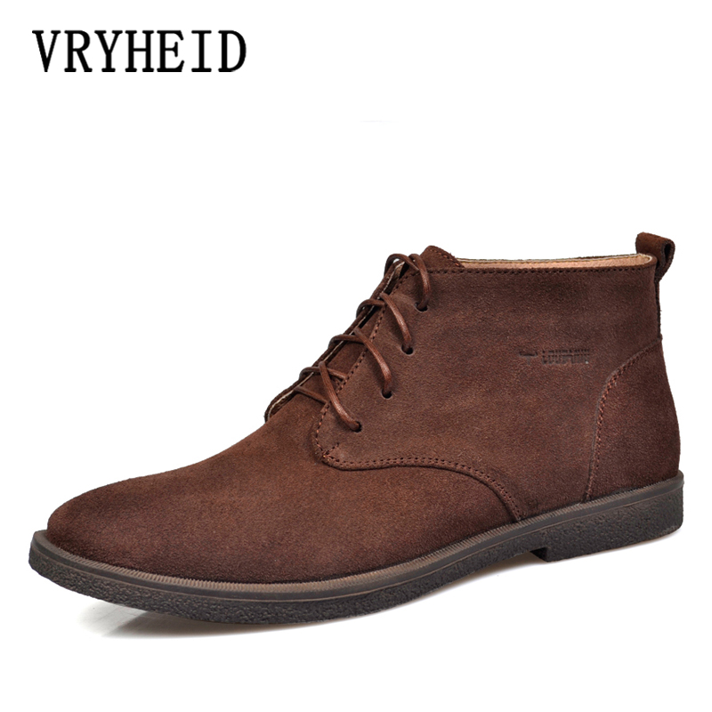 VRYHEID Autumn Winter Chelsea Men's Boots Fashion Genuine Leather Ankle Boots Men Big Size 37-47 Cow Suede High Top Shoes Men
