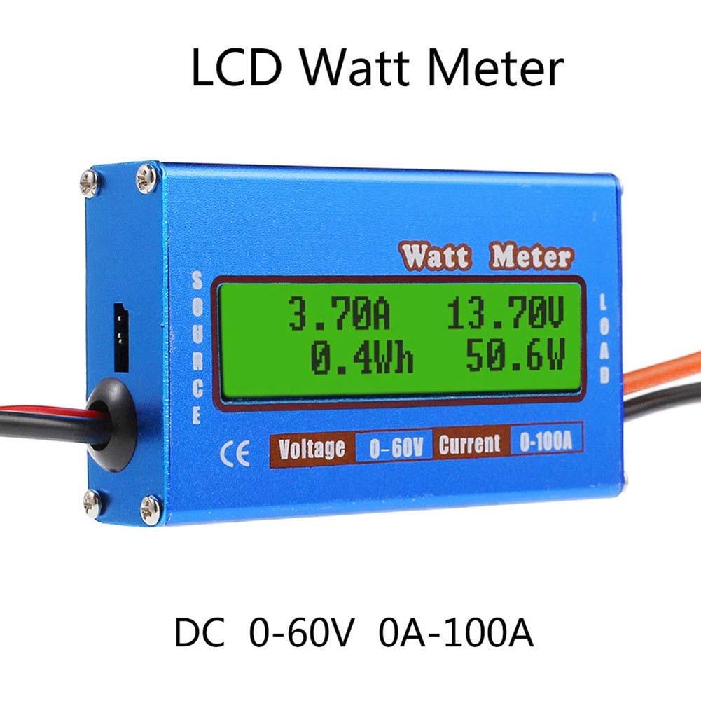 Digital Monitor LCD Watt Meter 60V/100A DC Ammeter RC Battery Power Amp Analyzer FKU66