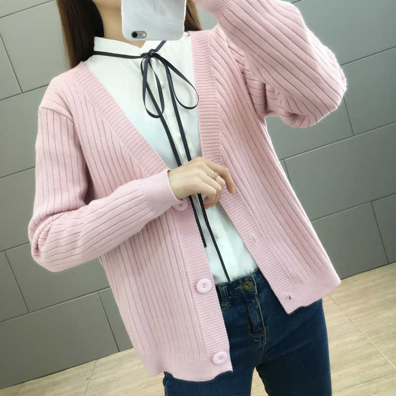 Spring Autumn Women's Short Knit Cardigan Jacket Single Breasted Loose Long Sleeve Sweater Coat Solid Female Cardigan Casual Top