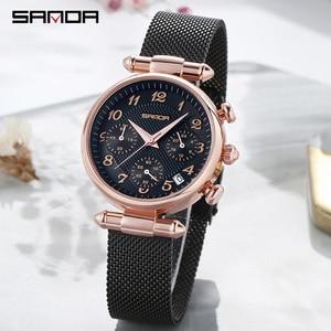 Image 5 - SANDA Womens Watches Top Brand Luxury Waterproof Watch Fashion Ladies Stainless Steel Ultra Thin Casual Wrist Watch Quartz Clock