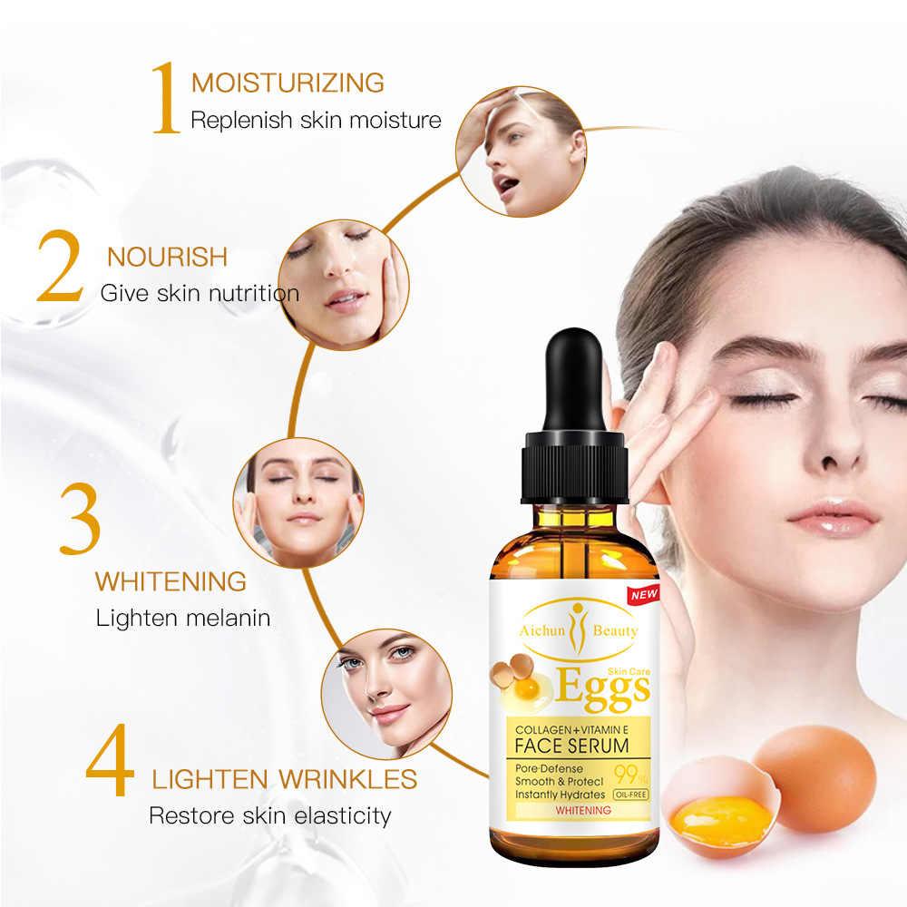Collagen & Vitamine ไข่เซรั่ม Essence Whitening Moisturizing Brightening Hydrating Repair ครีมต่อต้านริ้วรอยก่อนวัย