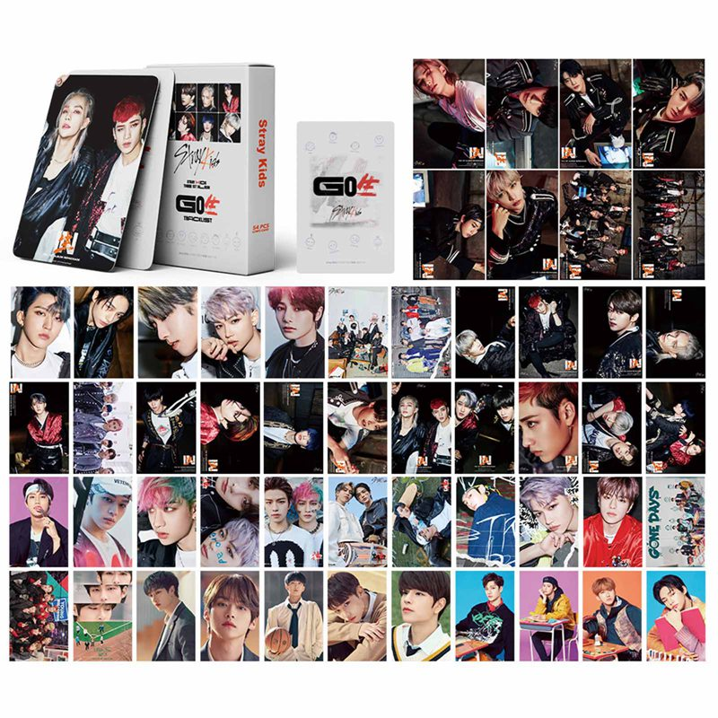 54Pcs/Box Kpop Stray Kids New Album GO LIVE LOMO Card Photocard Self Made Cards For Fans Collection Stationery