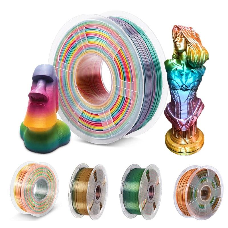 3D Printer Filament 1.75mm PLA Rainbow 1Kg 500g 250g Silk Normal Texture for Choose 3D Printing Plastic Polychrome Materials