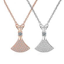цена на 925 sterling silver necklace rose gold dress zircon fashion pendant necklace woman holiday gift wholesale