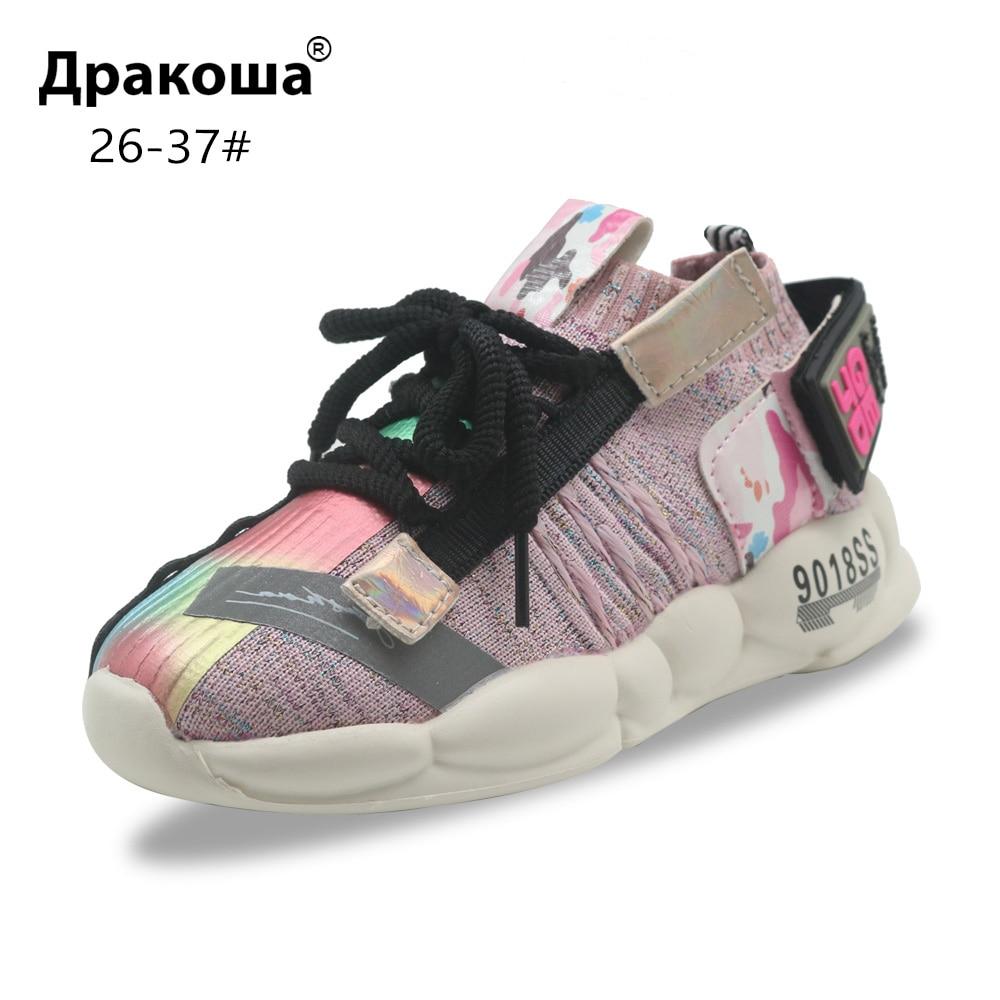 Apakowa Fashion Toddler Little Girls Flat Slip On Sock Sneakers Kids Lightweight Knit Mesh Upper Breathable Sports Running Shoes