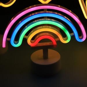 Image 3 - Neon Sign USB LED Decoration Unicorn Flamingo Lamp Moon Rainbow For Home Kid Room Bedside Night Light Decor Light For Children