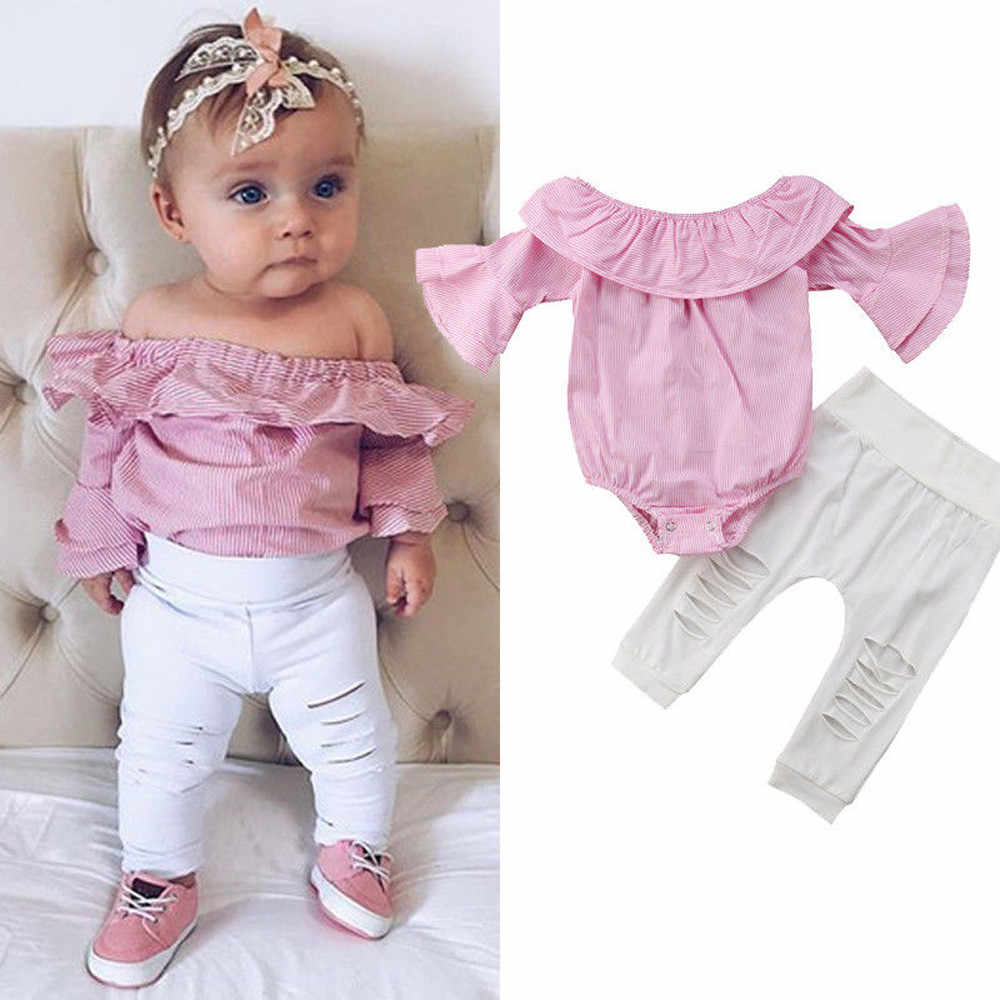 Infant Baby Girls Off Shoulder Flower Rose Striped Top+Short Outfit Set H4