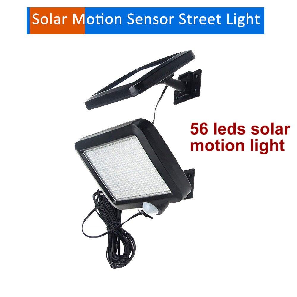 56 led 500lm lumière solaire split mount pIR détecteur de mouvement rue mur lampe d'intérieur anti-gel pour jardin garage patio escaliers 5M fil