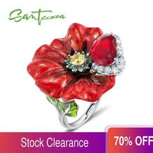 SANTUZZA Silver Flower Rings For Women 925 Sterling Silver Creative Red Rose Flower Ring Fashion Jewelry Handmade Enamel