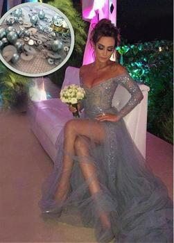 Off the Shoulder Long Sleeves New Sexy Gray Beaded Lace Tulle Formal Gown robe de soiree vestido festa bridesmaid dresses