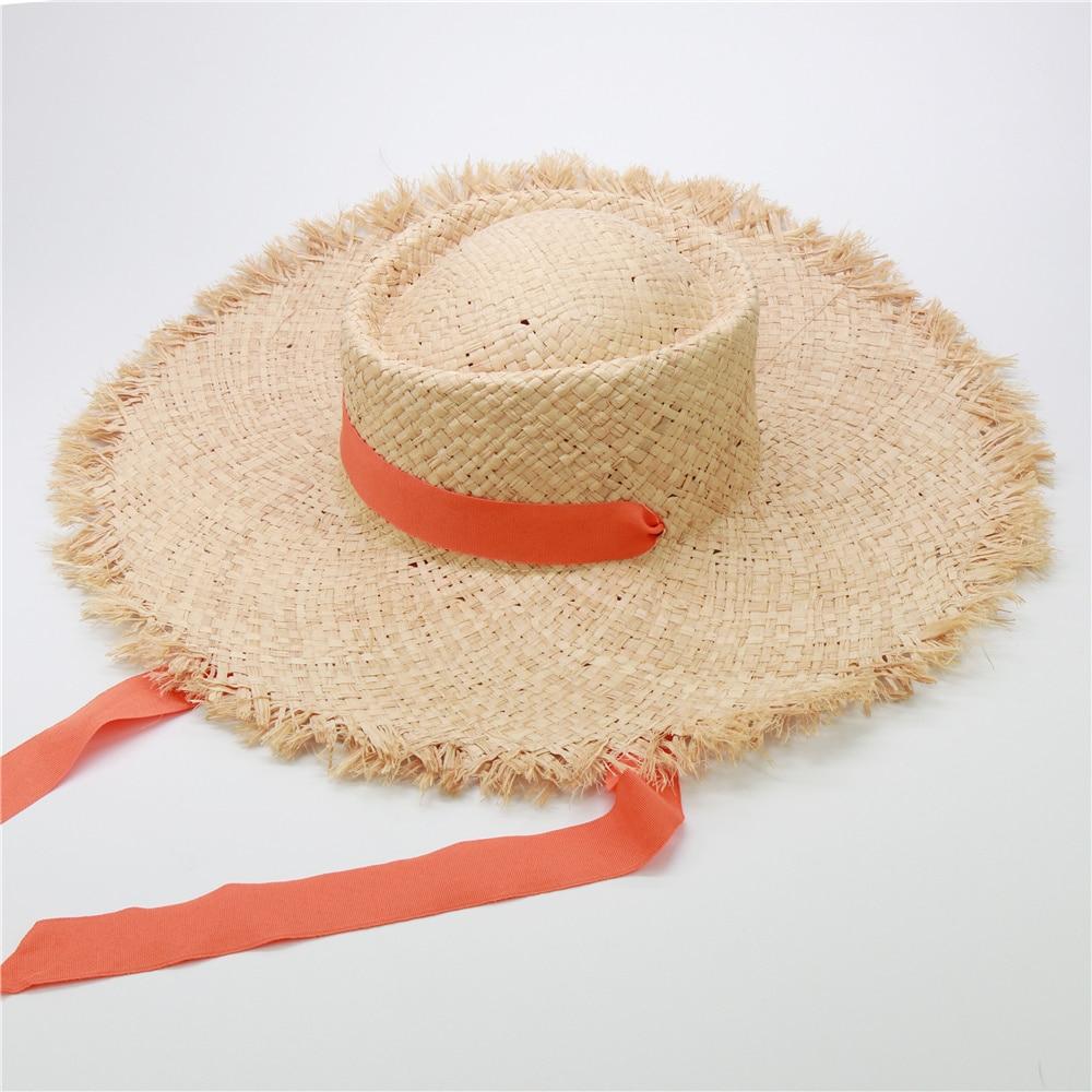 New Popular Long Ribbon Raffia Beach Hast For Women Windshield Decoration Summer Straw Hat Wholesale Dropshipping