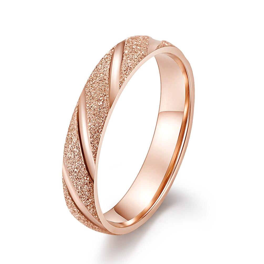 NewFashion Edelstahl Ringe Für Frauen Männer Rose gold Schwarz ring frost rillen funky ringe reif hohe qualität pandora ring