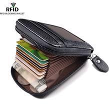 Carteira masculina couro genuíno titular do cartão de crédito rfid bloqueando zíper bolso bolsa masculina