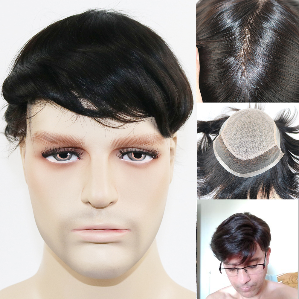 Silk Base Mans Toupee Pieces Black Color Straight Toupee For Men 100% Human Hair Silk Top Replacement System
