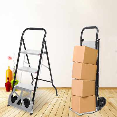 Dual Use Cart Ladder Folding Cargo Trolley Household Aluminum Alloy Ladder Load For 80KG Sturdy Steel Bracket Rubber Wheels