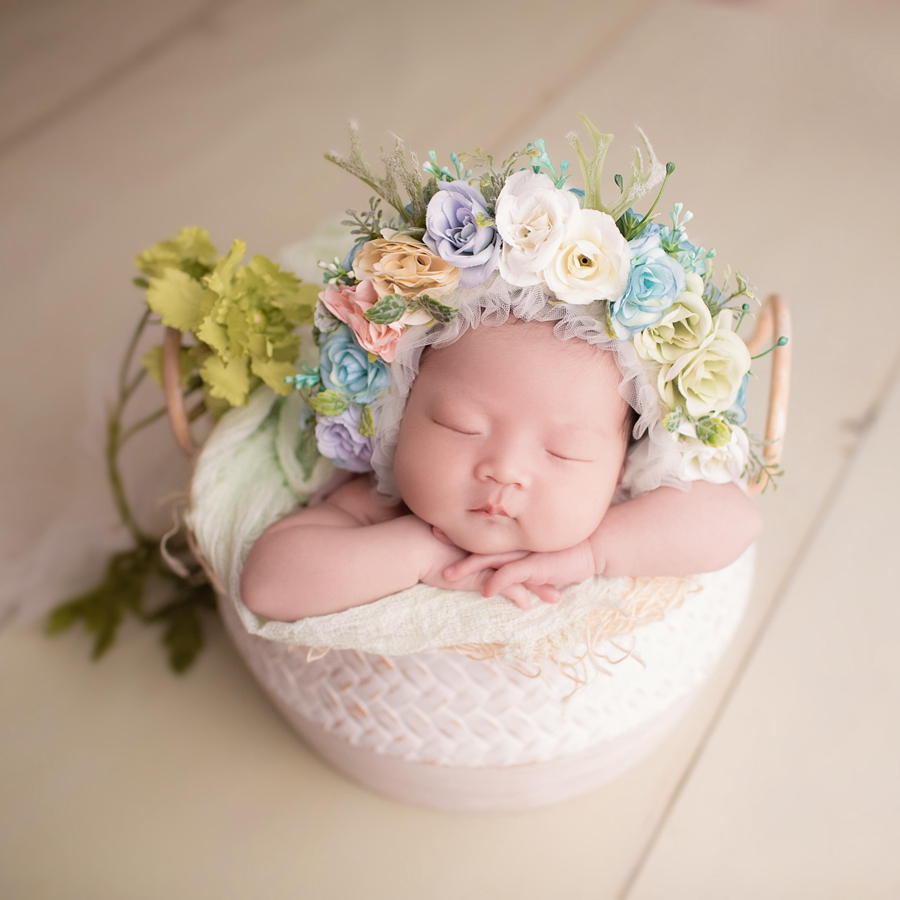 Vintage Baby Photography Prop Bucket,Cute Newborn Posing Pail Baby Photo Prop,#P2204
