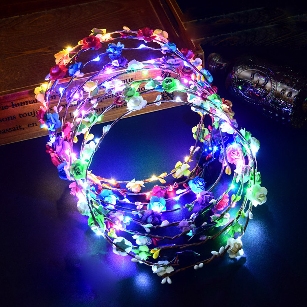 1 Pc New Hot Selling Women LED Light Up Hair Wreath Hairband Garlands Party Crown Flower Headband Glowing Wreath 91226