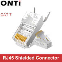 Conector RJ45 conector de Cable de red 10/50/100 Uds Cat6a Cat7 RJ45 conector blindado FTP 8P8C conectores de engarce de red