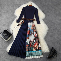 New 2020 women autumn winter dress elegant 3/4 sleeve knitted patchwork floral print long pleated belt midi dresses blue