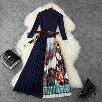 New 2020 women autumn winter dress elegant 3/4 sleeve knitted patchwork floral print long pleated belt midi dresses blue