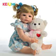 KEIUMI New Style 22 inch Princess Girl Reborn Doll All Silicone Newborn Babies Alive Toy For Kid Birthday Gift Gold Hair