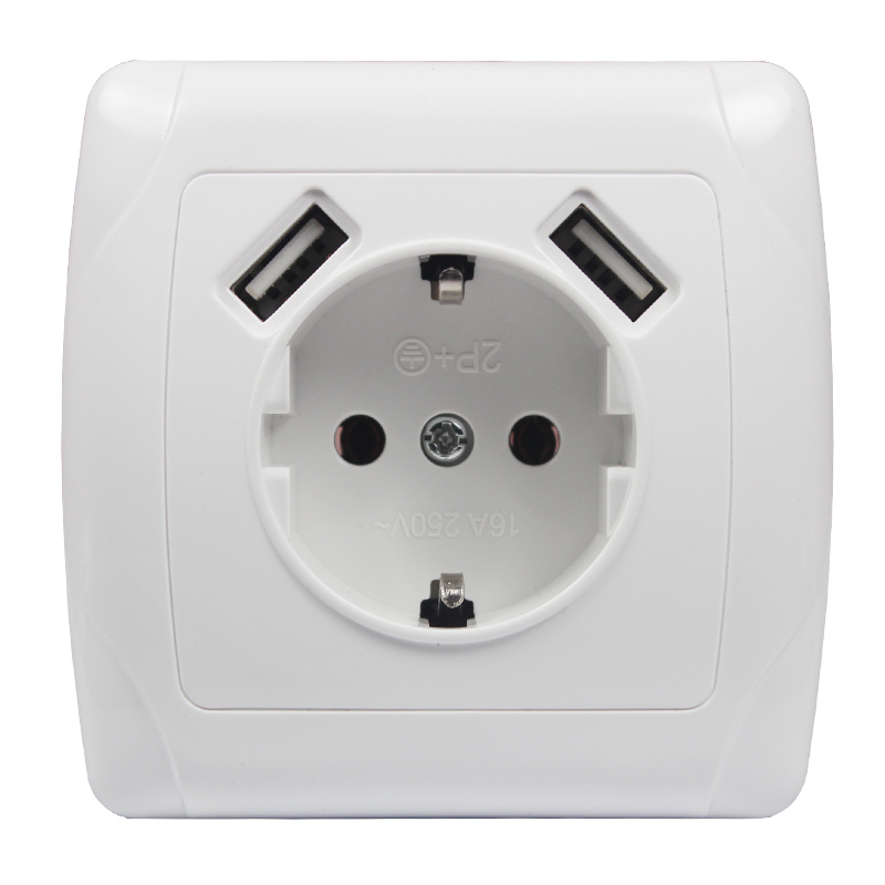 2020 New Wall Electronic Socket 5V2A Eu Standard Power Outlet With Dual Home Usb Plug Charger Power Socket With Usb A7