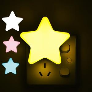 EU/US Plug Baby Lamp Sleeping Light Sensor Control Mini Star LED Night Light Socket For Children's Bedroom Bedside Lamp 2020