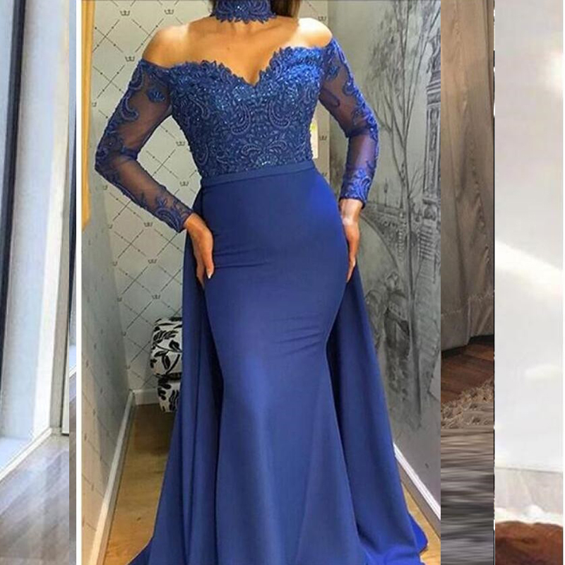 Royal Blue Mermaid Evening Dresses Long Sleeves Boat Neckline Satin Lace Beading Floor Length Evening Dress Formal Party Gowns