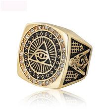 Luxury Freemasonry AG Finger Rings Titanium Steel Casting Jewelry Anniversary Gifts For Men