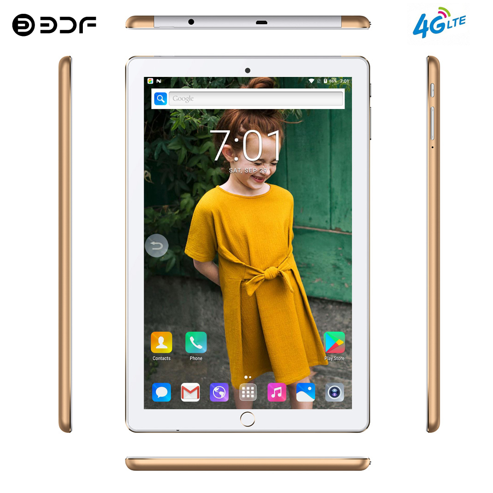 BDF New System 10.1 Inch Tablet PC Android 7.0 Octa Core 4G/3G Phone Call 4GB/64GB Dual SIM Wi-Fi Bluetooth Tablet PC+Keyboard