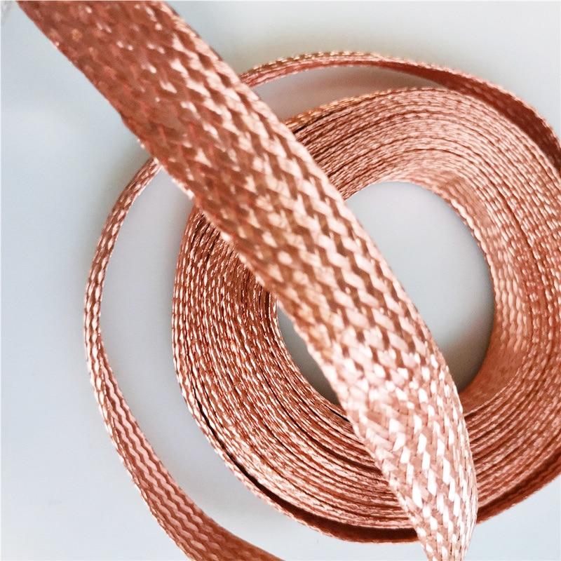 10m 10 Square Flat Pure Copper Braid High Flexibility Cable Bare Copper Braid Lead Wire Ground Lead Wire