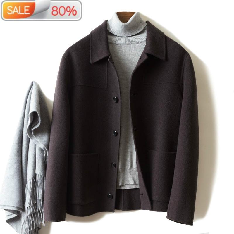 Men's Wool 2020 Spring Cashmere Jacket Men Overcoat Clothes Korean Mens Coats and Jackets Casaco Masculino A24 B2