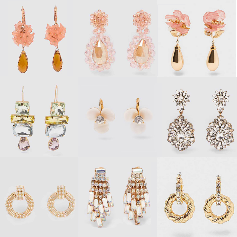 Dvacaman Flower Drop-Earrings Jewelry Crystal Handmade Wedding-Party Pink Trendy White