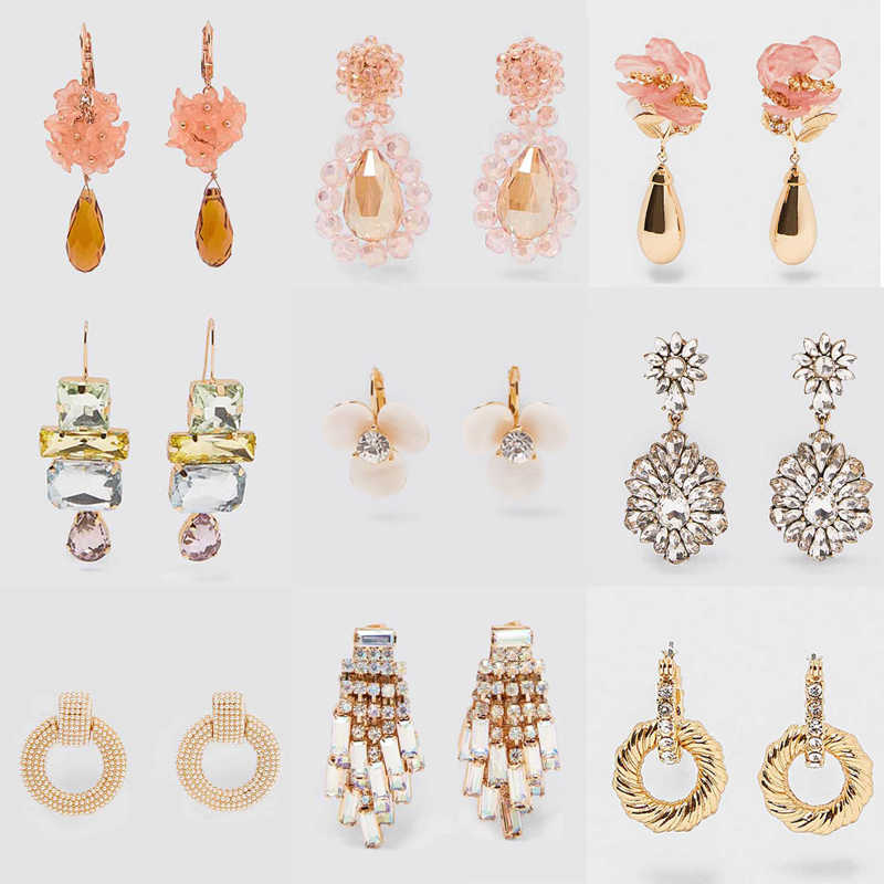 Dvacaman ZA 2019 Trendy Handmade Pink Flower Drop Earrings Women Luxury White Crystal Statement Earrings Wedding Party Jewelry