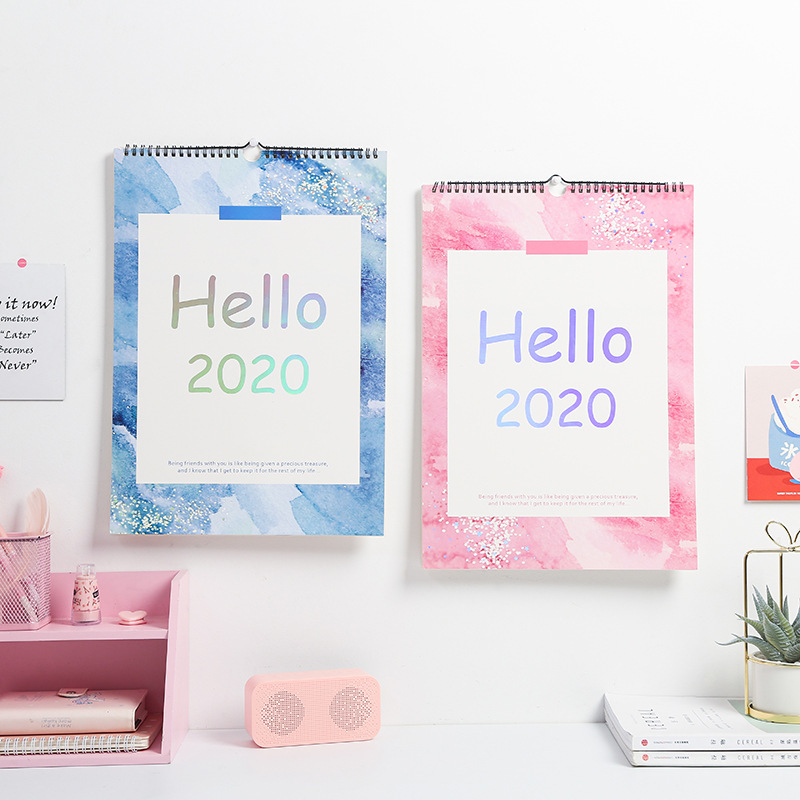 2020 Year Blue And Pink Laser Series Desk Calendar DIY A3 Large Wall Calendars Daily Schedule Planner 2019.09-2020.12