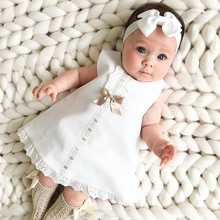 0-24M Baby Girl Clothes Sweet Solid Color Bow Lace Hem Sleev