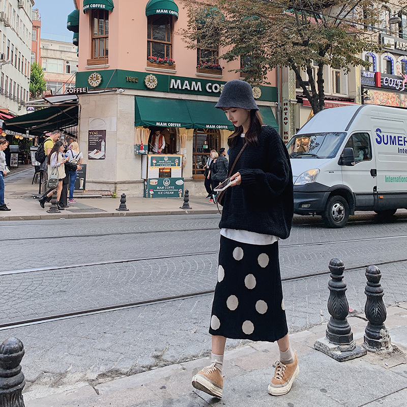 Knitted Polka Dot Slit One-step Skirt Wool Skirt + Laziness Simple Versatile Sweater Two-Piece Set