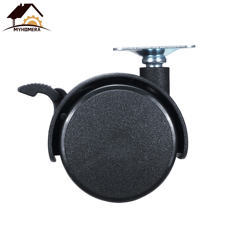 Myhomera Chair Wheel Furniture Caster 30mm 40mm 48mm Plate with Brake Swivel Castor Wheels Replace Trolley Cart Roller Black