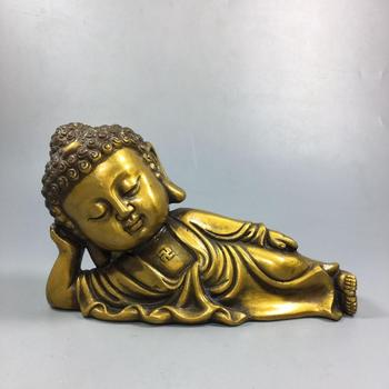 Chinese Old Copper Collection Pure Copper Sleeping Buddha