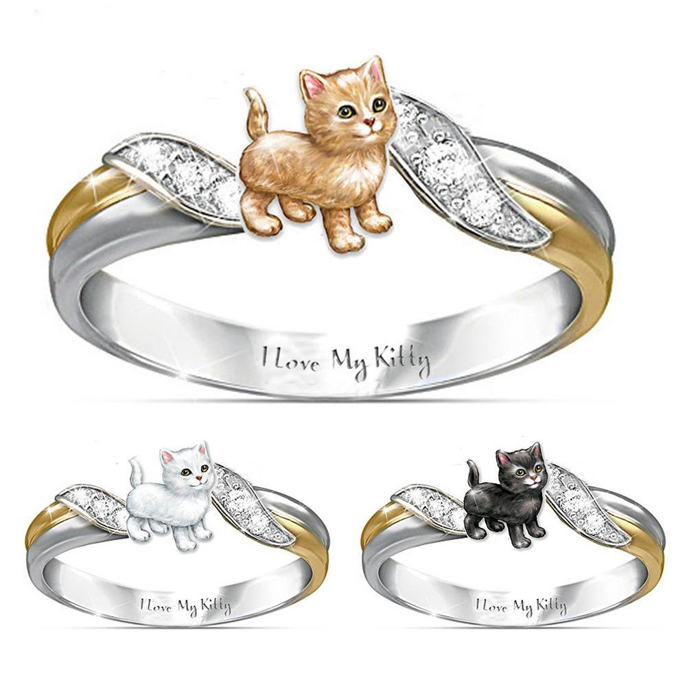 Женское кольцо в виде животного, кольцо с надписью «I Love My Kitty», двухцветное кольцо на палец, эффектное кольцо с дизайном для вечерние, ювелир...