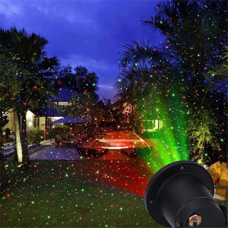 Luz láser roja/Verde luz láser estrellada al aire libre a prueba de agua Luz de jardín de proyección dinámica de Navidad