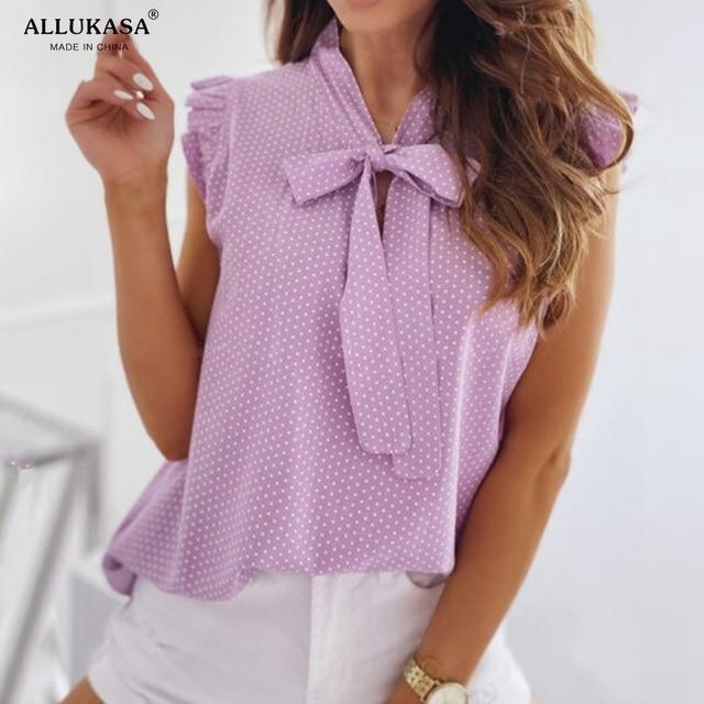Blouses Short Sleeves Shirt Summer Bow Lace Up Polka Dot Female Ruffle Pullover Vintage Blusa Muyogrt   shirts  womens sexy tops 6