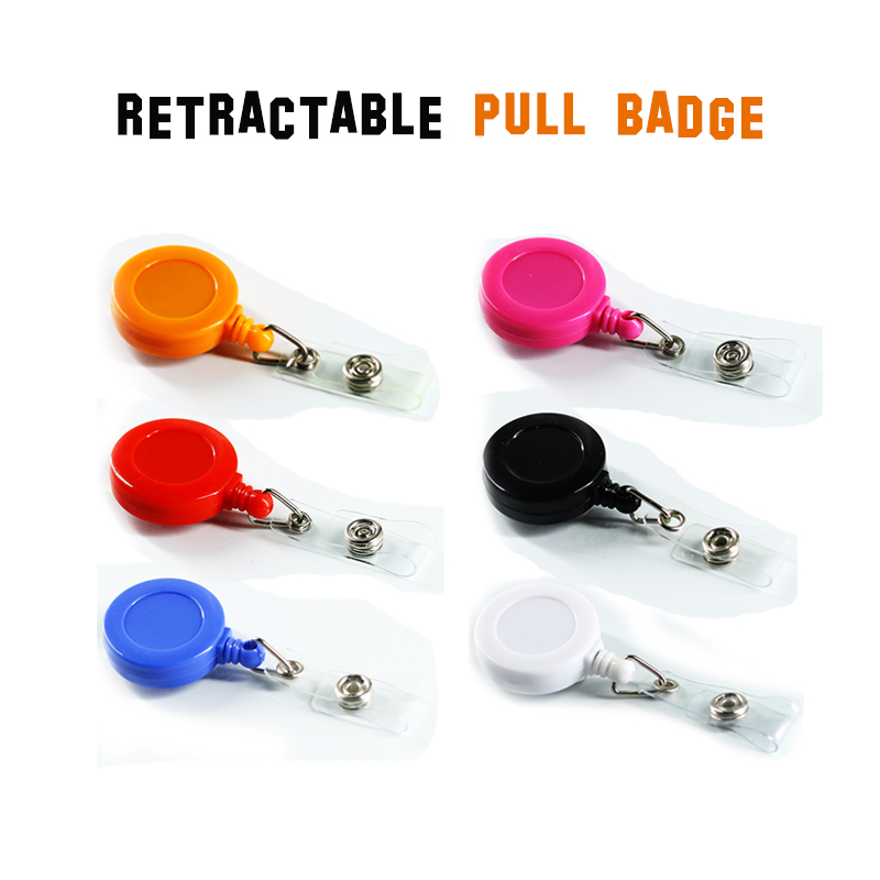 Retractable Pull Badge ID Department Brand Name Badge Holder Scroll Key Ring Chain Clip School Student Office