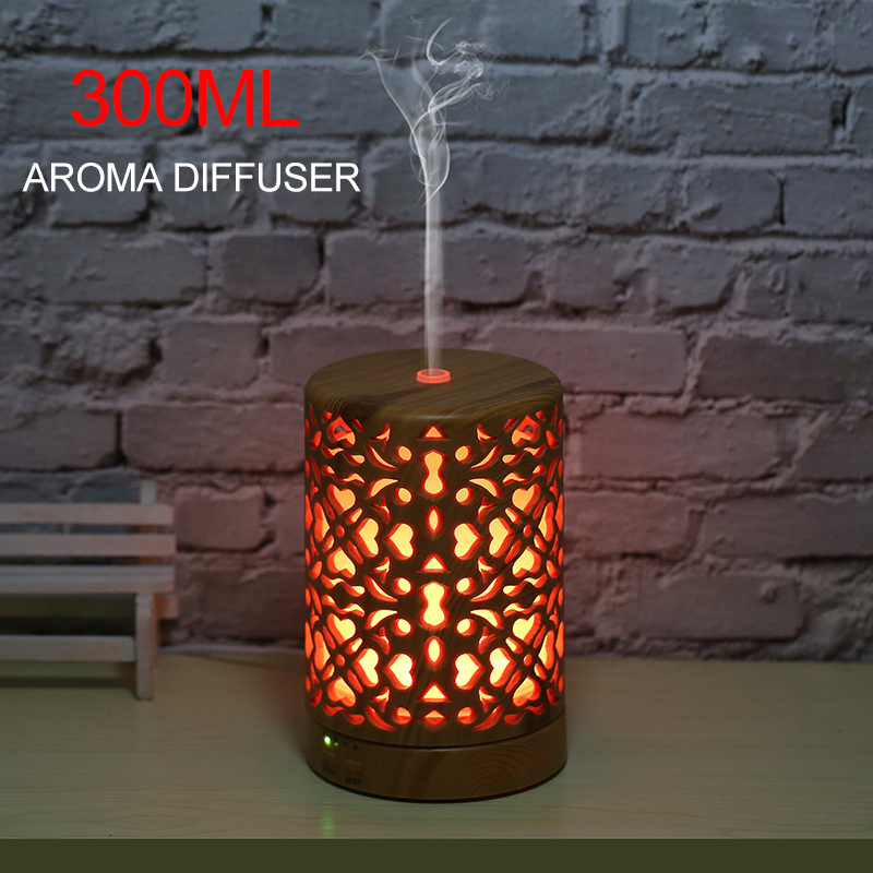 300 ml air humidifier wood grain aroma diffuser electric essential oil aromatic air diffuser with 7 color LED night light