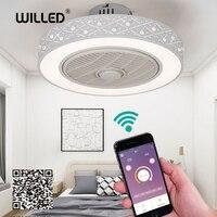 19 polegada Inteligente Controle de Ventilador de Teto com Telefone Celular Wi Fi Indoor início decora ventilador de teto com Luz moderna iluminação circular rodada|Ventiladores de teto| |  -